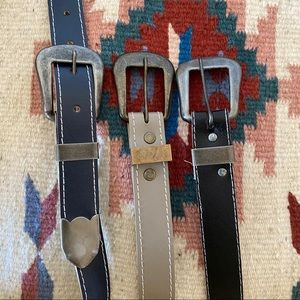Set of 3 Lot Vintage Belts Neutral Gray Navy Black